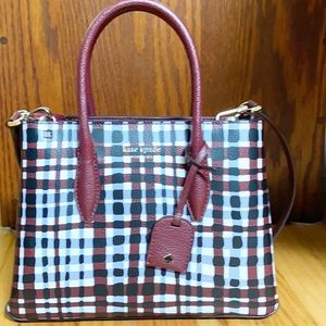 Kate Spade Sm Top Zip Satchel Eva City Plaid NWT